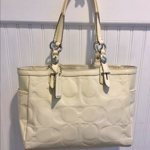 Coach Bags - COACH Signature Collection Ivory Patent Leather